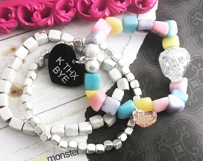 Lucky Last! K THX BYE bracelet stack, w/ crystal skull, pastel, white, silver accents, layering set, arm candy, funny, anti Valentine