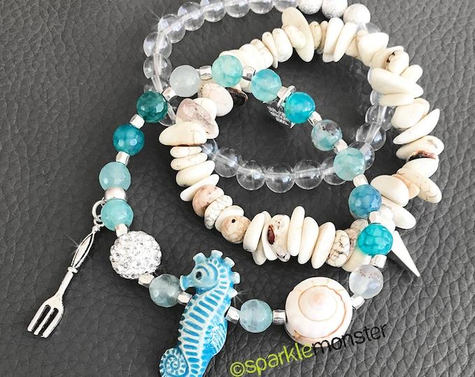3 SET Mermaid and Shell bracelet stack