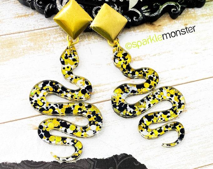 Medusa Earrings - gold posts with snake dangle earrings