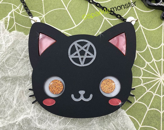 Black Cat Magic - laser cut acrylic necklace, matte black, pentagram, horror, kitsch, witchy, wiccan, kitty
