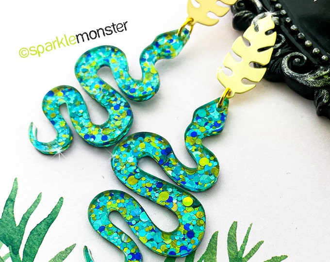 Medusa Earrings - gold leaf posts with snake dangle earrings, green and blue