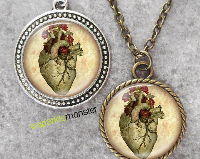 Anatomical Floral Heart - 30mm glass tile necklace, antique silver or bronze, circle pendant, gothic, vintage style