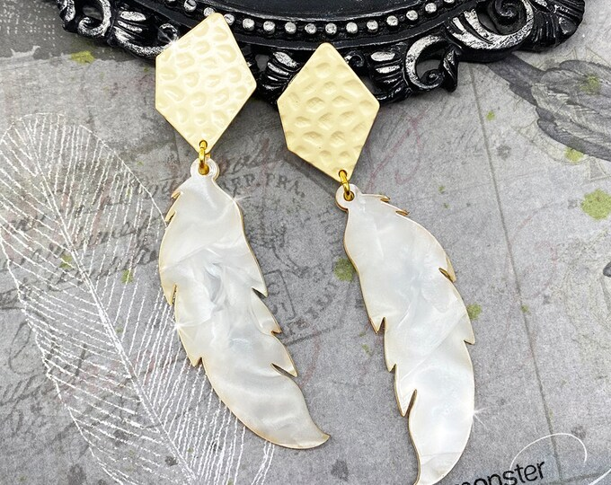 Stella Earrings - matte gold post earrings, pearl white, laser cut acrylic, feathers, charms, boho, summer fashion, tropical, vacation