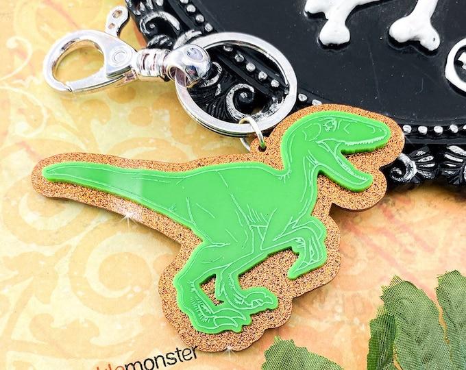 Large Velociraptor Keychain - laser cut acrylic