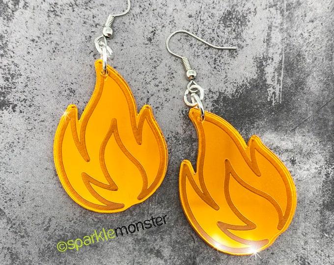 orange mirror flame dangle earrings