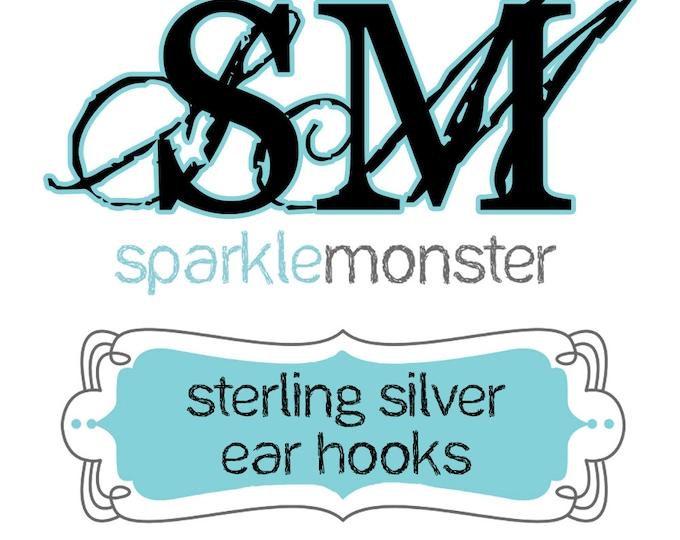 Sterling Silver - earring hook upgrade, 1 pair, hypoallergenic, metal allergy