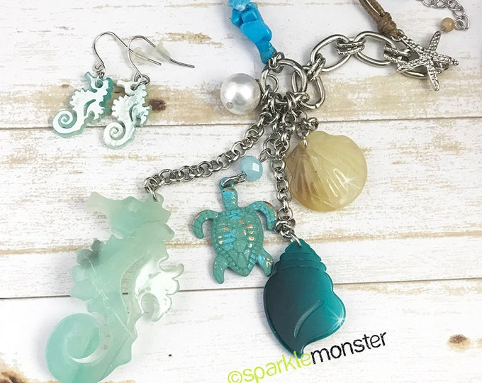 Sealife Babe jewelry set - charm necklace, seahorse earrings, blue turtle, shells, beach, resin charms on leather cord