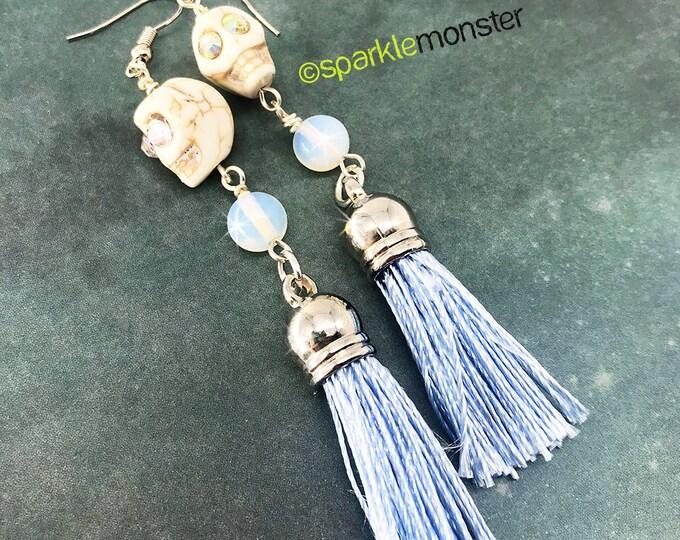 White Skull Long Tassel Earrings - opal beads, with crystal eyes and  light blue tassels
