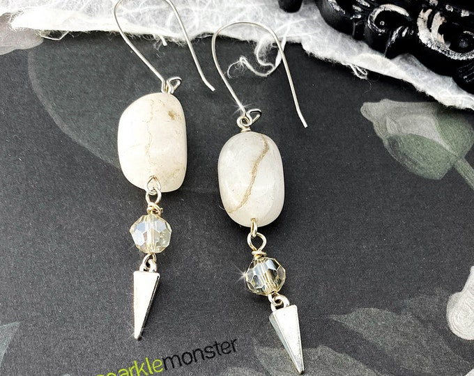 Lucky Last!  Stone and Crystal Spike Earrings - white stone, white crystals, glam, goth prom, chic