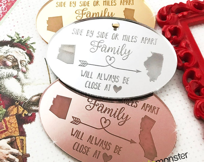 Custom States Ornament - laser cut acrylic, gift, personalized, cute, silver, gold, rose, mirror, family