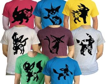 Mens / Females Eevee Evolutions T Shirt Jolteon Vaporeon Espeon Umbreon Nintendo Pokemon 3DS