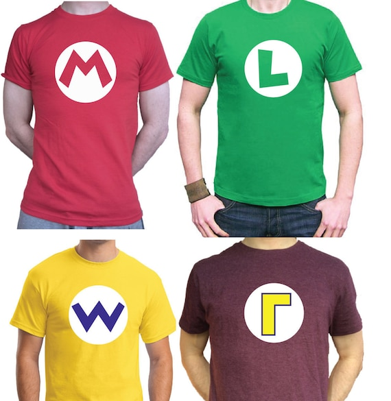 Adult or Child Mario Initial Letter T-shirts, many colours