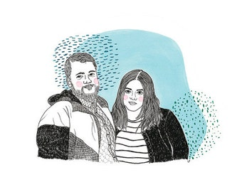Custom Illustration (couples portrait with color)