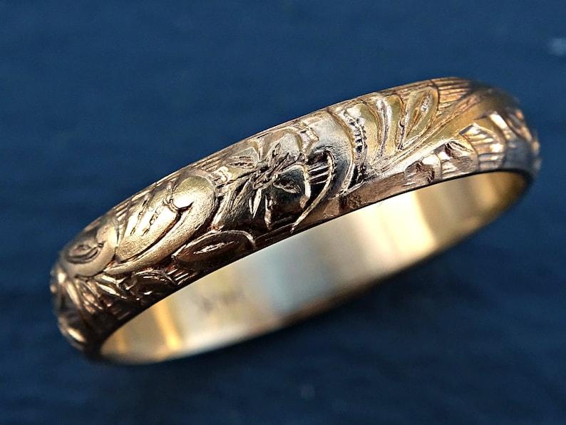 Pagan wedding band women medieval wedding ring gold flower ...