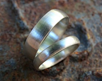 domed wedding band set silver wedding rings, his her promise ring set, matching silver rings his hers, couples ring set, bride groom bands