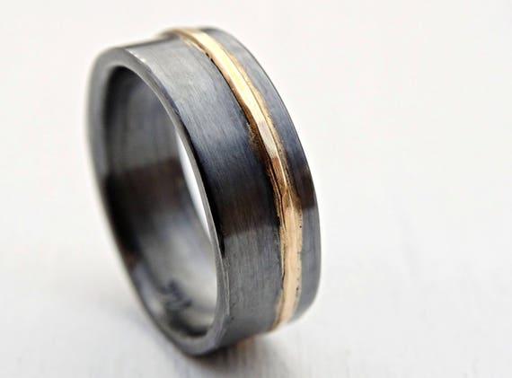 Herren Hochzeit Band Gold Silber Ehering Schwarz Silber Keltische Ehering Gemischte Metall Ring Wikinger Ehering Handwerker Gold Ring