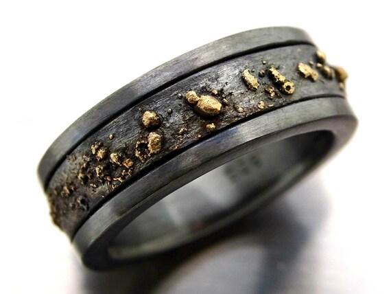 Mens Wedding Band Black Gold Ring Men Viking Wedding Band Etsy