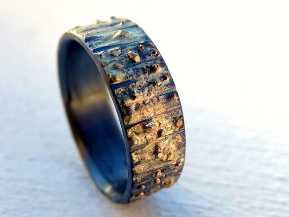 Woodland Wedding Ring Viking Wedding Band For Men Tree Bark Etsy