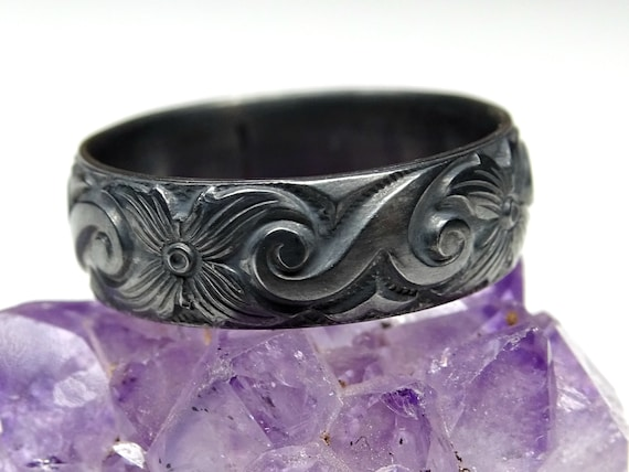 floral promise ring flower eternity ring gift for her floral engagement ring black flower ring pagan wedding ring black silver ring