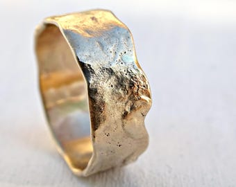 reticulated gold ring, 14k gold wedding band unique promise ring molten gold, cool mens wedding band gold, organic wedding ring gold