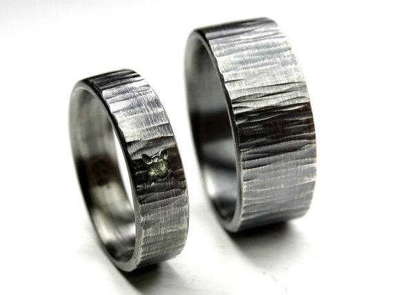 Eheringe Und Ihn Silberne Hochzeit Ring Set Gehammert Silber Etsy