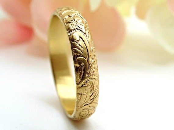 Pagan Wedding Band Women Medieval Wedding Ring Gold Flower Ring Eternity Ring Flower Promise Ring Women Leaf Ring Gold Wedding Band