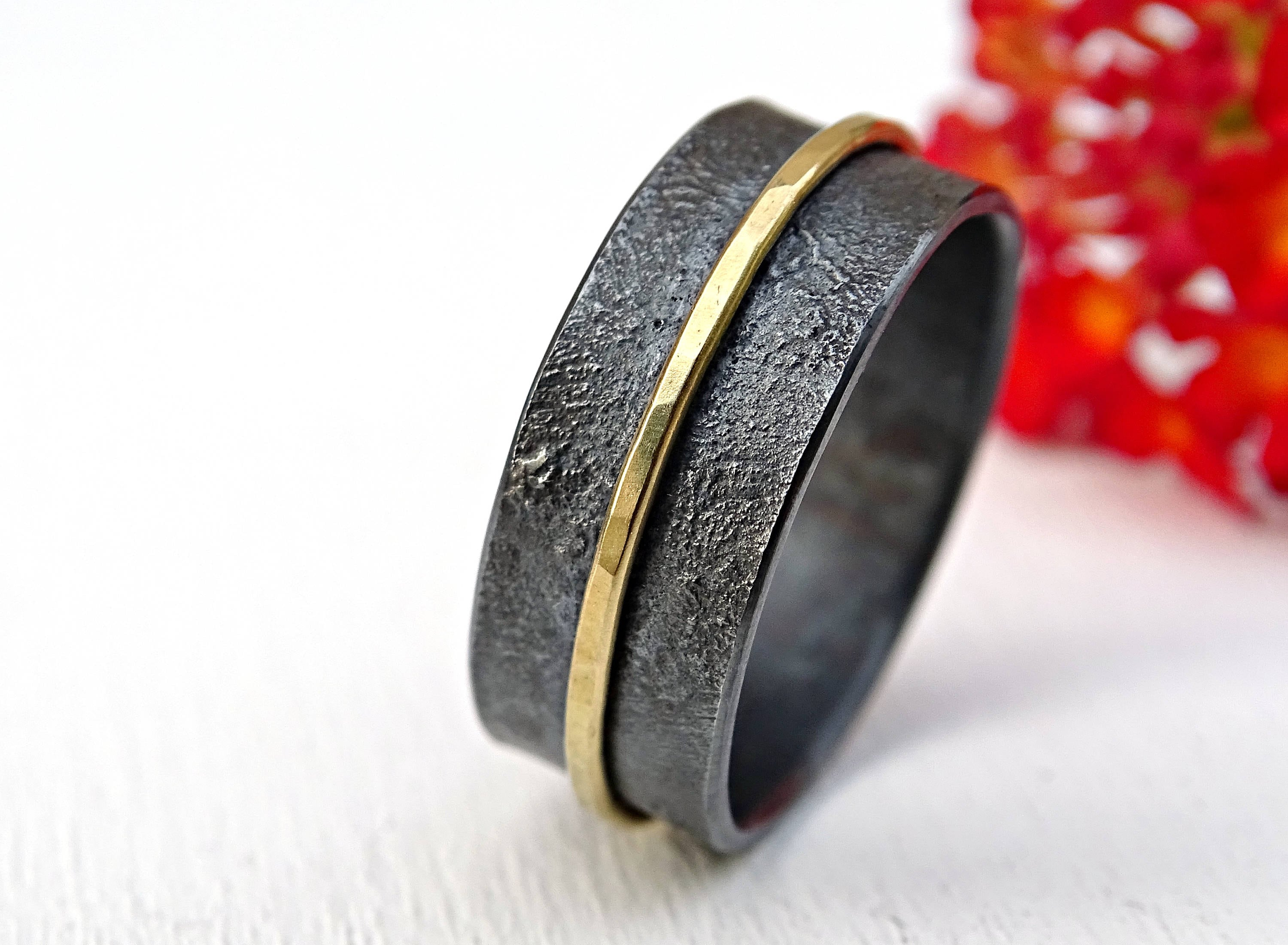Mens Wide Band Silver Rings
