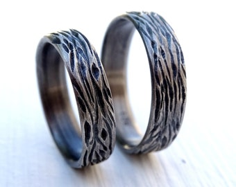 nature wedding ring set silver wedding band set, unique wedding rings, wood grain rings, carved silver rings matching wedding bands his hers