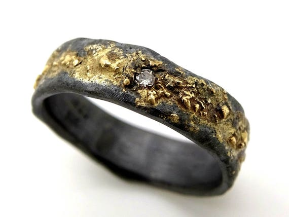 mens wedding ring celtic diamond engagement ring gold silver | Etsy