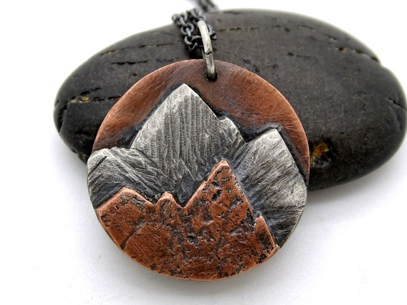 copper silver mountain range pendant cool mens necklace landscape amulet necklace for him mountain pendant for him outdoor jewelry