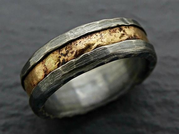 Viking Wedding Ring Gold Mens Wedding Band Black Cool Mens Etsy