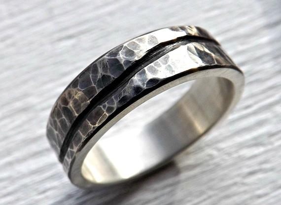 Rustikale Welle Ring Silber Herrenring Ehering Ring Bio Etsy