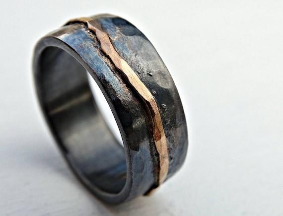 scarpe sportive 8195c 3426b oro fede nuziale nero, uomo fede nuziale, anello d'onda organica oro,  vichingo anello di nozze forgiato anniversario band, fresco anello maschile
