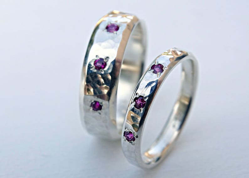 Cool Wedding Rings.Silver Wedding Band Set Matching Wedding Rings For Him And Her Gemstone Wedding Ring Set Hammered Wedding Bands Promise Ring Set Unisex