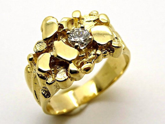 Gold Nugget Ring Mens Gold Ring Mens Cluster Ring Gold Etsy