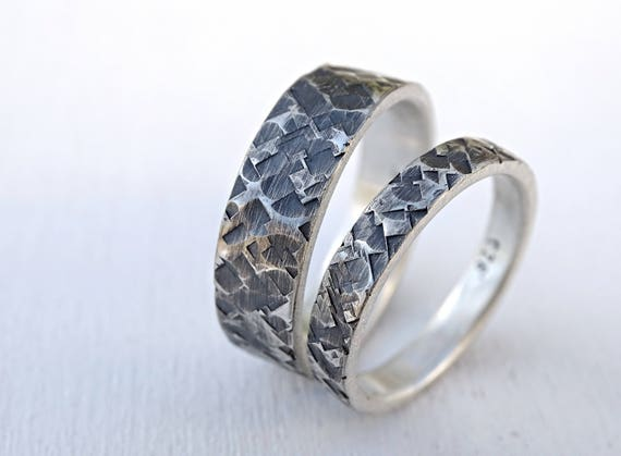 Matching Wedding Rings For Bride And Groom.Square Hammered Wedding Band Set Silver Wedding Rings His Her Ring Set Couples Matching Rings Bride Groom Ring Set Bridal Jewelry Set