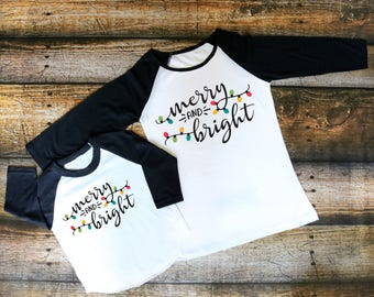 Christmas Shirt, Merry and Bright, Mommy and Me Christmas Shirts, Christmas Lights, Mommy and Me Set, Baby Christmas Shirt, Kids Christmas