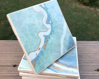 Blue ocean marble coasters- set of 4
