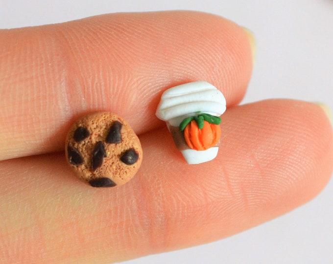 Pumpkin spice earrings Fall jewelry Ear studs Cookie earrings Gift for her Cute earrings Coffee earrings Mix and match studs Fall earrings
