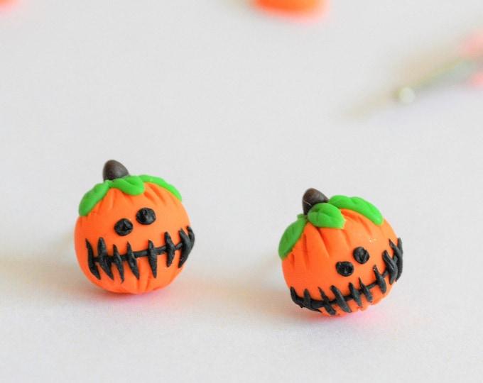 Pumpkin earrings Halloween earrings Studs earrings Ear studs Halloween accessories Fall earrings Fall jewelry Gift for her Food earrings
