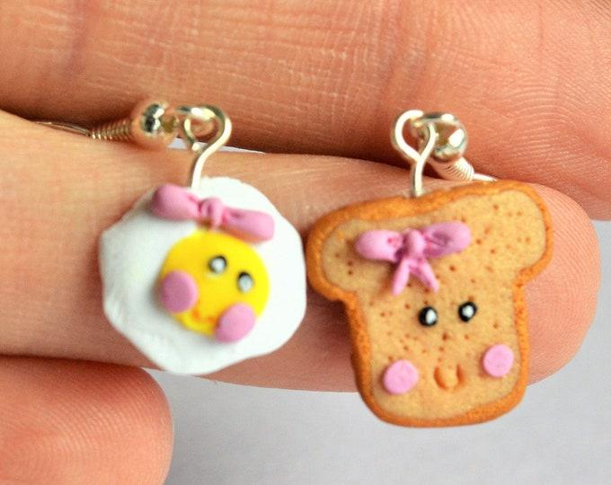 Breakfast earrings - fried egg - sunny side up - toast earrings - kawaii earrings - children studs earrings - polymer clay earrings - fimo