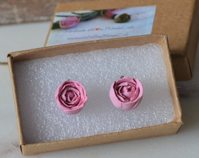 Handmade peony earrings, Birthday gift for her, Romantic gift for her, Gift for girlfriend, Pink peony earrings,Gift for florist, Fimo peony