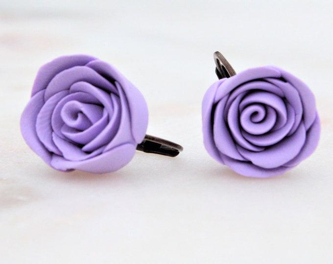 Beautiful floral earrings - Polymer clay earrings -  Purple rose earrings - Flower girl earrings - Gifts for her - Rose earrings - Fimo