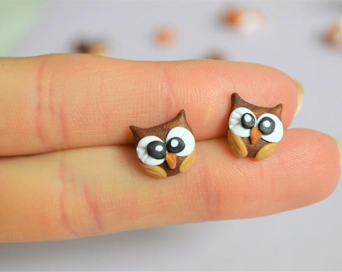 Owl earrings  Owl studs earrings Gifts for her  Fall earrings  Autumn Cute earrings Owl studs Ear studs Gift for daughter Animal earrings
