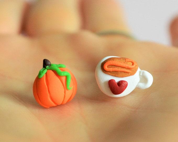 Pumpkin spice earrings Fall earrings Coffee lover gift Pumpkin earrings Pumpkin spice Gift for her Coffee earrings Fall gift Autumn jewelry