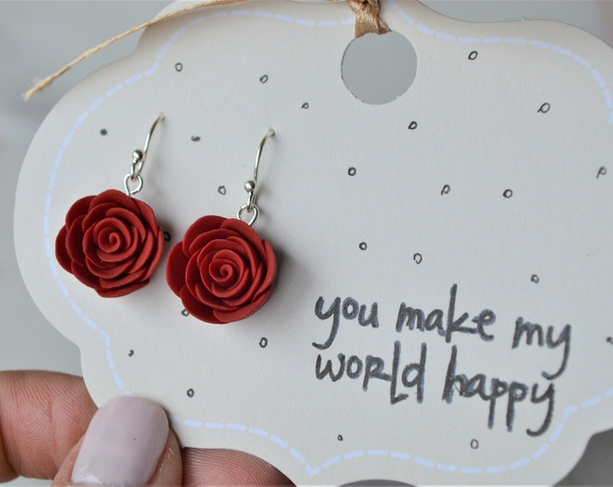 Mothers Day gift, Mom you are special earrings, Silver earrings for mom, Red roses earrings, Silver jewellery, Polymer clay Jewellery, Roses