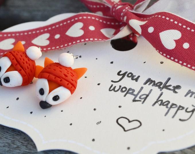 Cute handmade fimo fox earrings, cute gift for friend, fimo animal, fimo fox miniature, cute handmade earrings, cute handmade gift,