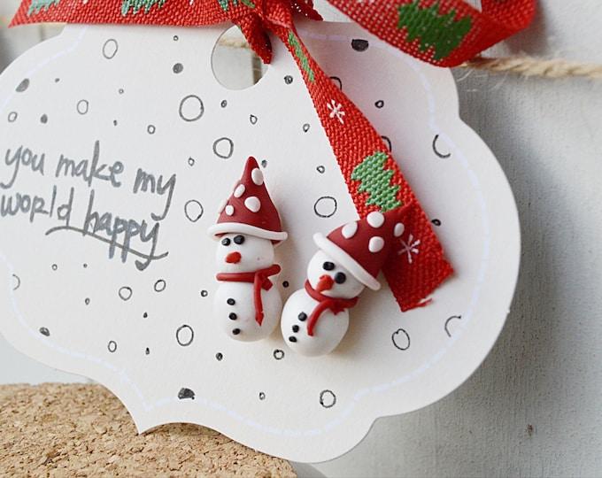 Cute handmade winter earrings, handmade winter jewellery, Xmas party jewelry, snowman earrings, Xmas stud earrings, snowman fimo earrings