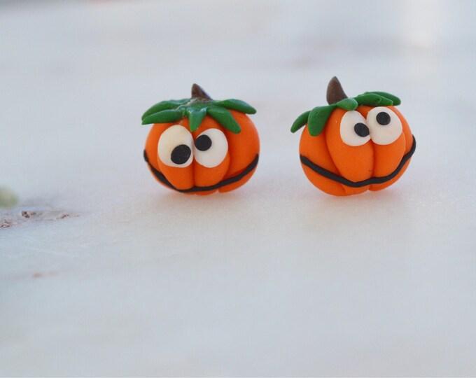 Pumpkins are back! Cute handmade pumkin stud earrings