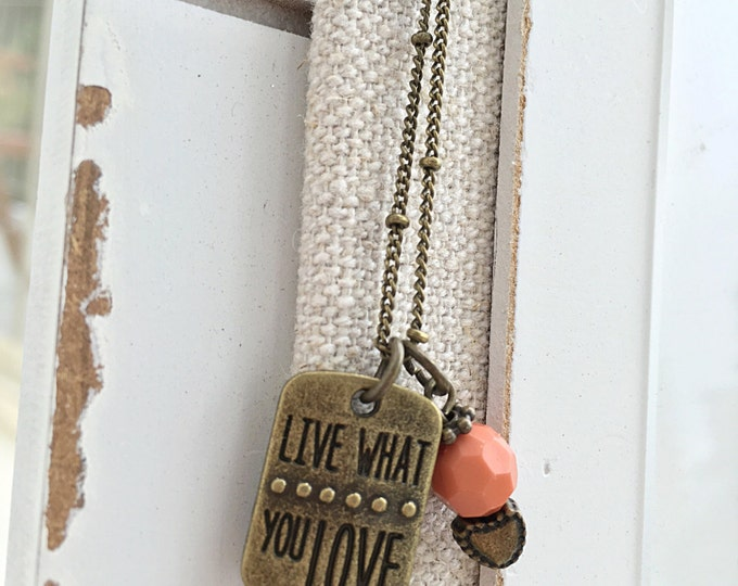 Life quote necklace, life quote charm, boho necklace, original vintage necklace, quote vintage necklace, yoga necklace, bohemian necklace